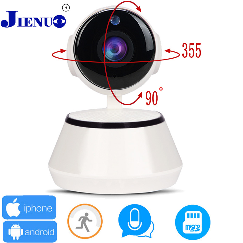 JIENU IP Camera with wifi Home Security video Camera wireless Surveillance Baby Monitor CCTV Cameras WI-FI Mini Microphone P2P owlcat indoor bullet cctv camera guard wall mount plastic housing shield with bracket for video surveillance security cameras