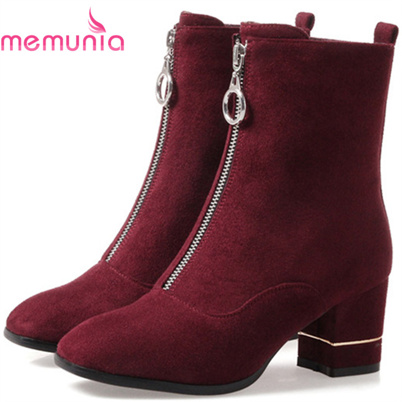 MEMUNIA Big size 34-43 ankle boots square toe fashion boots for women PU zip solid high heels shoes autumn womens boots party цены онлайн