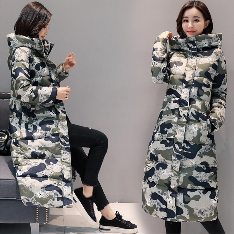 Winter Jacket Women Fashion Camouflage Warm Hooded Down Cotton   Parkas   Down Jackets 2018 Winter OL Long Warm Outwear Coats