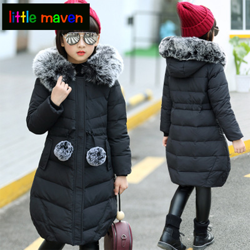 2017 winter girls Down jackets long warm big girl new thick coat outerwear hooded Artificial fur collar parka overcoat 2017 new design girl boy thick jackets real fur hooded long coat kids big girl for cold russia winter clothing dress overcoat