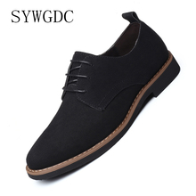 SYWGDC Men Suede Leather Casual Shoes Spring Summer Fashion Oxford Shoes Comfortable Men Flats Zapatos Hombre Big Size 38-48