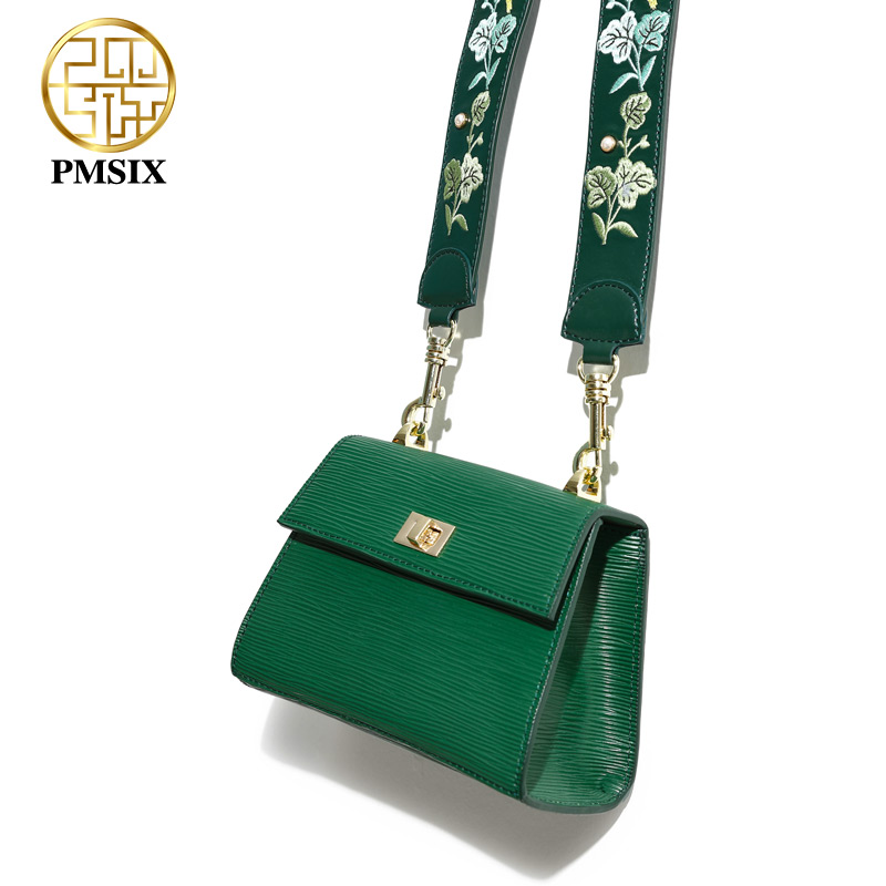 Pmsix luxurious ladies bags  leather shoulder bagfor women Embroidery Flowers Handbags Green long straps Cross-body bagPmsix luxurious ladies bags  leather shoulder bagfor women Embroidery Flowers Handbags Green long straps Cross-body bag