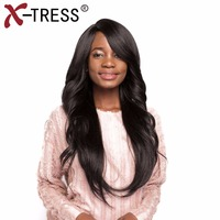 X TRESSSynthetic Lace Wigs Long Straight Wig With Bang Wavy Middle Side Part Heat Resistant Ombre