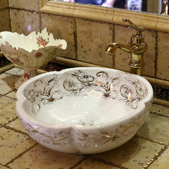 En céramique de mode Pétales Art lavabo bassin lavabo lavabo Tourtereaux