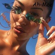 Luxury Cat Eye Sunglasses Women Vintage Brand Designer Sun Glasses Men Small Metal Shades For Women Trendy Mirror Eyewear UV400 все цены