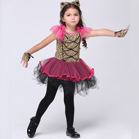 Cute Girls Pink Leopard Catwoman Costume Kids Comic Cat Dress Halloween Chirstmas Children Day Comic Animal
