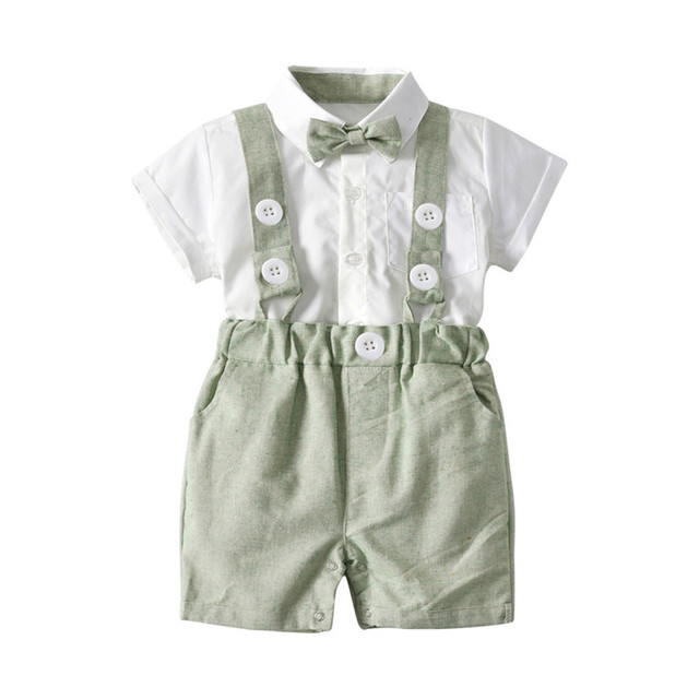 fe7a5447cd65 DFXD Newborn Boys Clothes 2018 Summer New Fashion Short Sleeve Bowknot  Shirt+Overall 2pc Formal Infant Boy Clothing Set 6M-3T