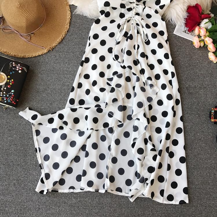 Women Beach Red Dress 2019 Summer New Seaside Holiday Sleeveless Dot Print Casual Vestidos E496 19