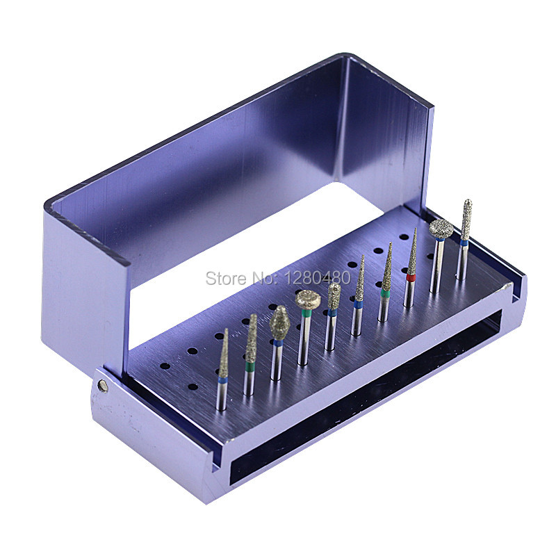 10Pcs Dental Materials Diamond Burs FG1.6 Polishing Polishers And 1Pcs Disinfection Carbide Burs Holder Block Drills Dentistry