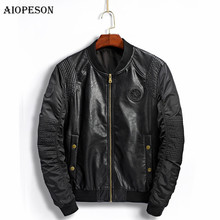 AIOPESON PU Leather Patchwork Jackets Men Brand Clothes Stand Collar Printing Bomber Jacket Slim Fit High Quality Man Jacket