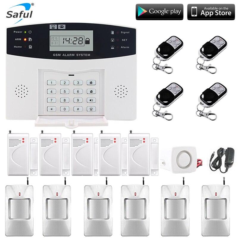 Saful Sans Fil de Sécurité À Domicile GSM système D'alarme écran lcd Sans Fil de Sécurité D'alarme SMS Alerte système d'alarme PIR Capteur Sirènes