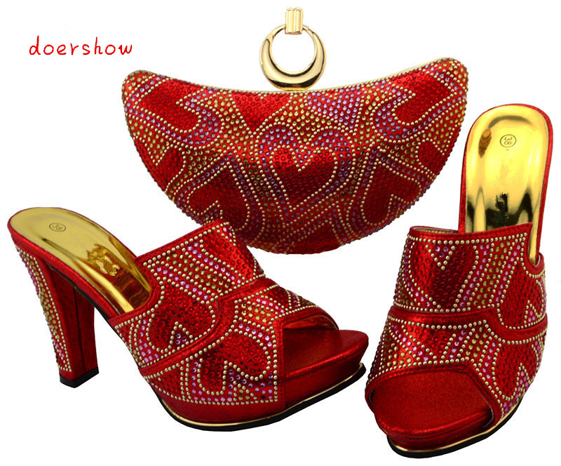 Shoe and Bag To Match Italian African Wedding Shoe and Bag Sets Women Shoe and Bag To Match for Parties doershow   BCH1-16 red african wedding shoe and bag sets women shoe and bag to match for parties elegant italian women shoe and bag set