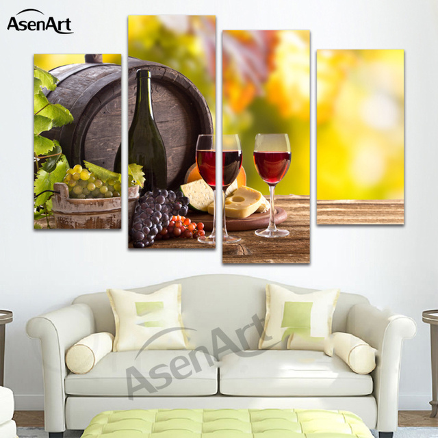 4 Panel Painting Canvas Prints Grape Wine Glass Bottle Wall Art