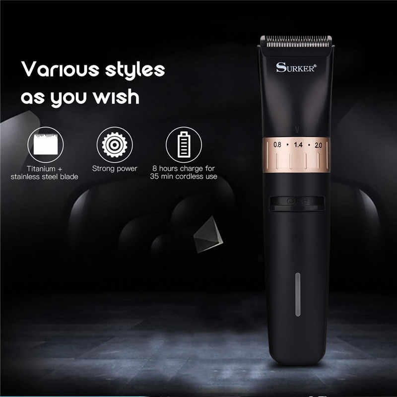 High Precision Hair Clipper Professional Rechargeable Hair Trimmer Beard Trimer 0.8-2.0mm Adjustable Electric Haircut Machine 42