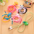 Triple Colors Solid Color TPU Spiral USB Charger Cable Cord Protector Wrap Cable Winder Organizer USB Cable Earphone Protector