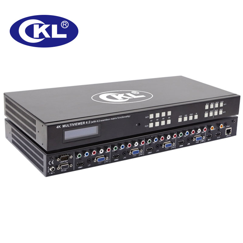 CKL-MV4H2 High Quality 4x2 Seamless HDMI, VGA , YPbPr, AV Matrix Switch Spliter Combo 1U Rack