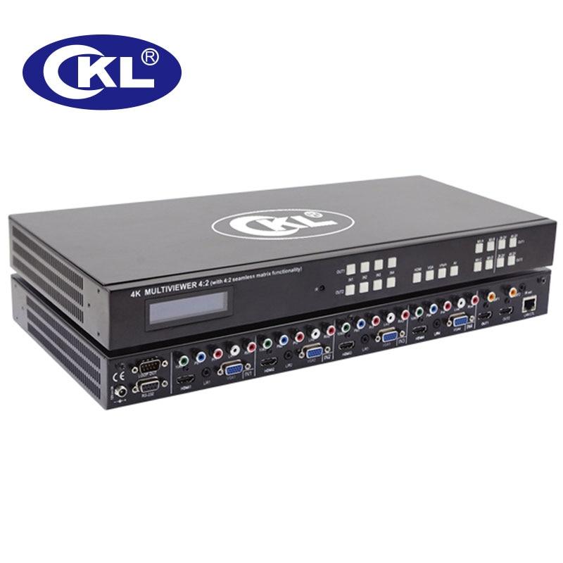 CKL-MV4H2 haute qualité 4x2 sans soudure HDMI, VGA, YPbPr, AV matrice commutateur Spliter Combo 1U Rack