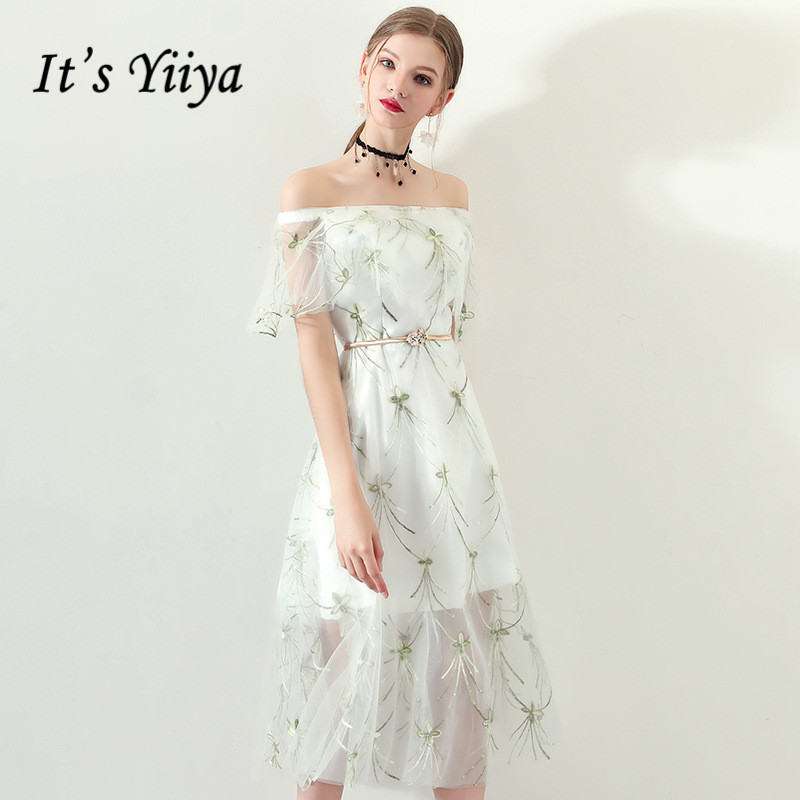 It's YiiYa Short Sleeve Off The Shoulder Backless Lace Up Formal   Cocktail     Dresses   Embroidery Tea Length Party   Dress   MX043