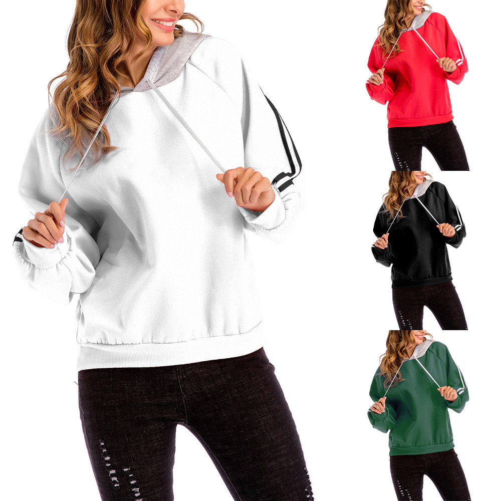 2018 Plus Size Sweatshirt Casual Color Block Hooded Blouse outdoor exercise cropped hoodies females sudadera mujer AG 15
