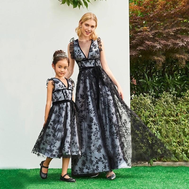 Mère et fille vêtements pour la fête de mariage dentelle maman et fille robe de soirée élégante famille correspondant vêtements tenues