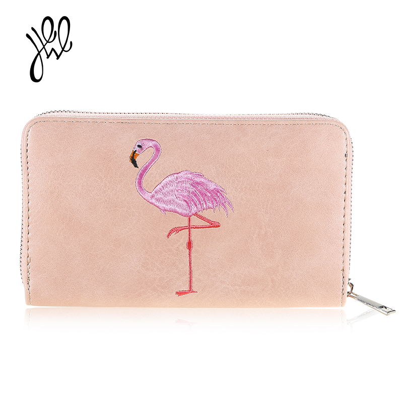 PU Leather Wallet Women New Flamingo Purses Brand Long Zipper Lady Purse Card Holders Wallet Big Dollar Passport Wallets 500588 стоимость