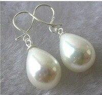 Verkauf> 12X16mm teardrop Weiß Shell Perle Silber Baumeln Ohrringe> freies verschiffen