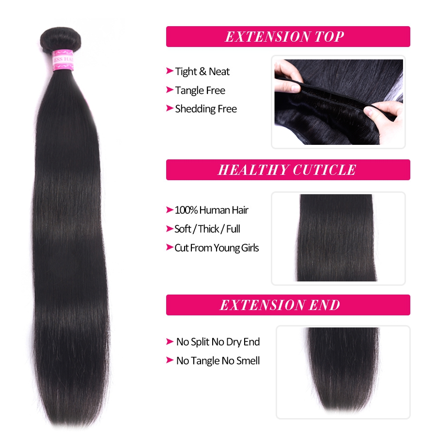 So Silk Indian Straight Hair Bundles 100% Human Hair Weave Non Remy Hair Extensions Double Weft Natural Color Hair Weaving 8-30