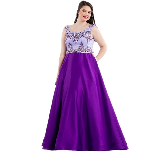2017 New Arrival Plus Size Purple Evening Prom Dresses With Sleeve