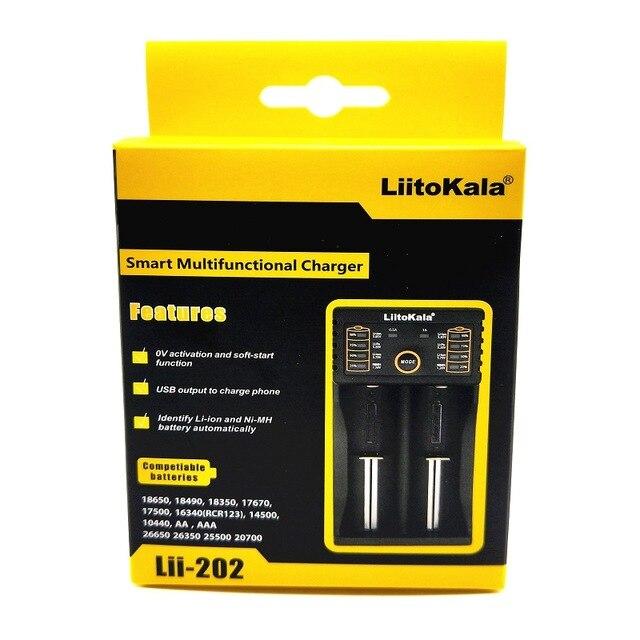 Liitokala Lii-202 carregador para 1.2 v/3 v/3.7 v/4.25 v 18650/26650/18350/16340/18500/aa/aaa ni mh bateria