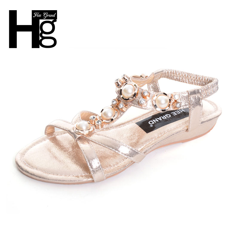 HEE GRAND Women's Sandals For 2017 New Crystal Summer Shoes Woman Platform Wedges Med Heels Silver Gold Slip On Sandal XWZ3699 phyanic gold silver wedges sandals 2017 new platform casual shoes woman summer buckle creepers bling flats shoes phy4040