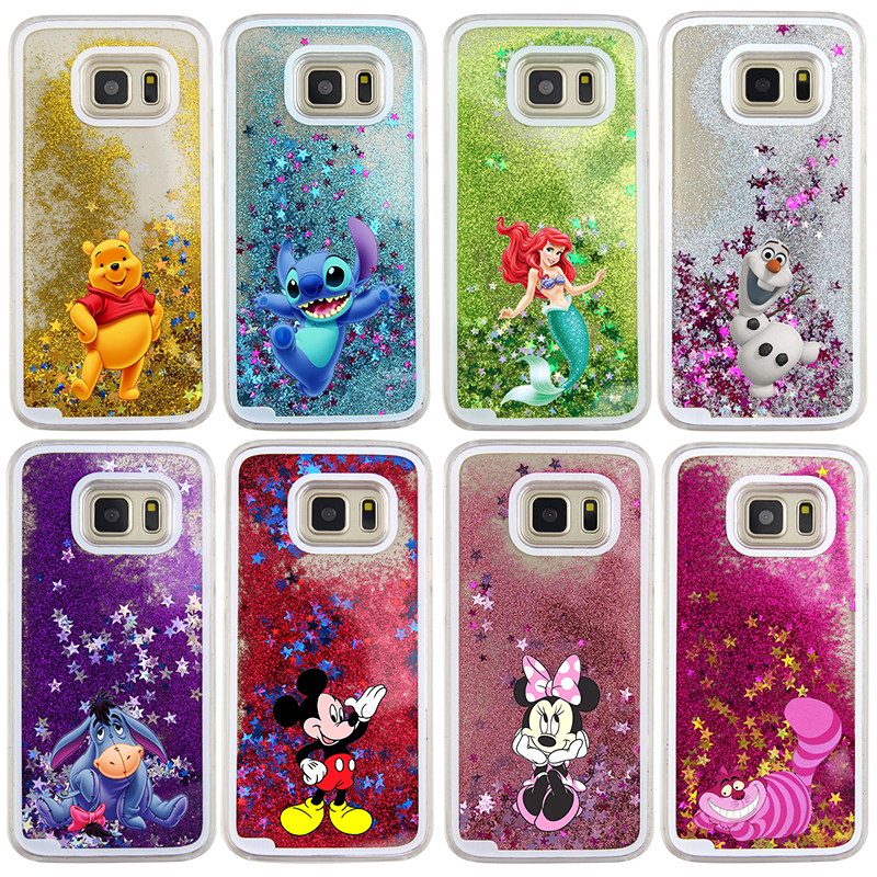 official photos 2ab13 839b0 US $4.09 |For Samsung Galaxy S7 Case Cute Stitch Mickey Shining Liquid  Quicksand Mobile Phone Case Cover on Aliexpress.com | Alibaba Group