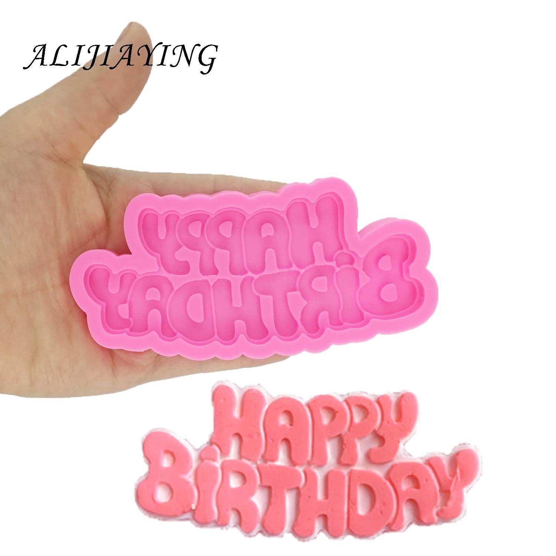 DIY Happy birthday shape Sugarcraft Silicone Molds letter Gumpaste Chocolate Fondant Cake Decorating Tools wholesale D1333
