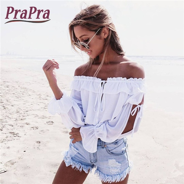 Prapra Sexy Schulterfrei Frauen-t-shirt Solide Blusa Mujer Slash Neck Chiffon Beachwear Lace Up Geknackt Aufflackernhülse Ernte Tops