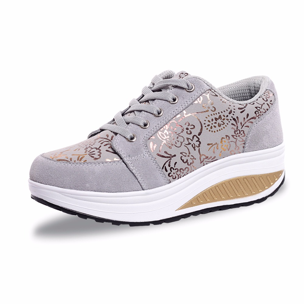 Fashion 2016 Swing Wedges High Heels Thick Soled Ladies Casual Women Lace Up Increased Shoes Platform Suede Shoes zapatos mujer women harajuku cartoon lace up wedges platform shoes 2015 casual shoes trifle thick soled graffiti flat shoes ladies creepers