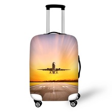 Купить с кэшбэком Travel aircraft pattern Elastic Luggage Protective Cover Zipper Suit For 18-30 inch Trunk Case Travel Suitcase Covers Bags