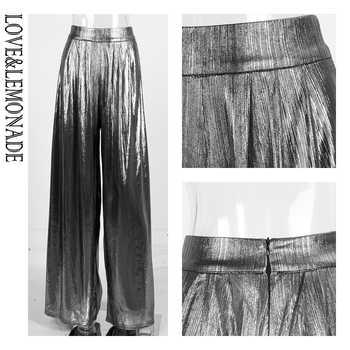 Love&Lemonade Silver Important Reflective Wide Leg Pants LM81498-1