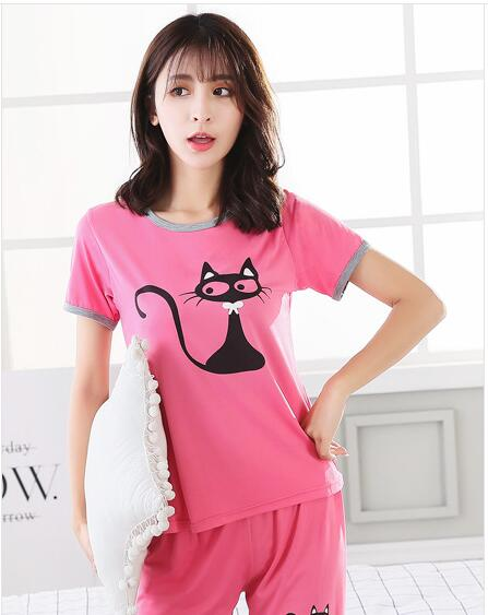10 sets Womens Casual Short sleeved shorts Pajamas Sets Cat and fish bones Round Neck home clothes Breathable sleepwear Suit