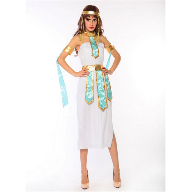 high quality Sexy white cleopatra clothing Greek Goddess Cosplay Athena Egypt queen Party Dress Roman Princess Costume Halloween