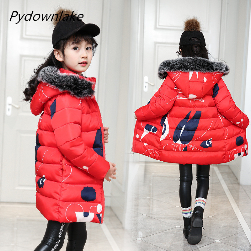 Children 39 s Autumn Winter Baby Girls Children Cotton Jacket with Fur Hooded Girls Winter Coat Winter Coat Girls outwear clothes in Down amp Parkas from Mother amp Kids