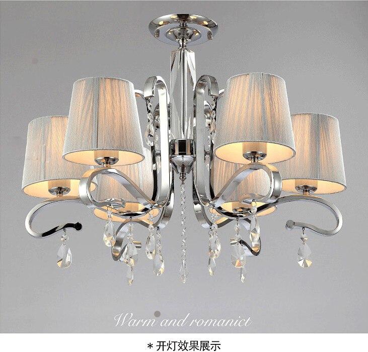 シャンデリアライト、大多数のシャンデリアファブリックシェードブラックガラスcrystalwhiteクリスタル金属ランプ