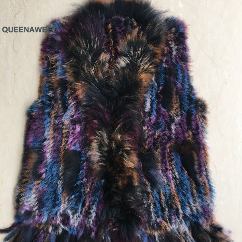 2019 new colors Women Genuine real Rabbit Fur Vest coat tassels Raccoon Fur collar Waistcoat(China)