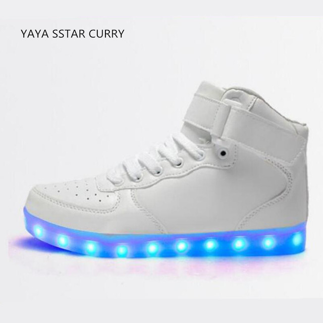 fbe5130ad7e0 New 2017 high to help men s shoes led board shoes fluorescent shoes Air  Force One light board shoes
