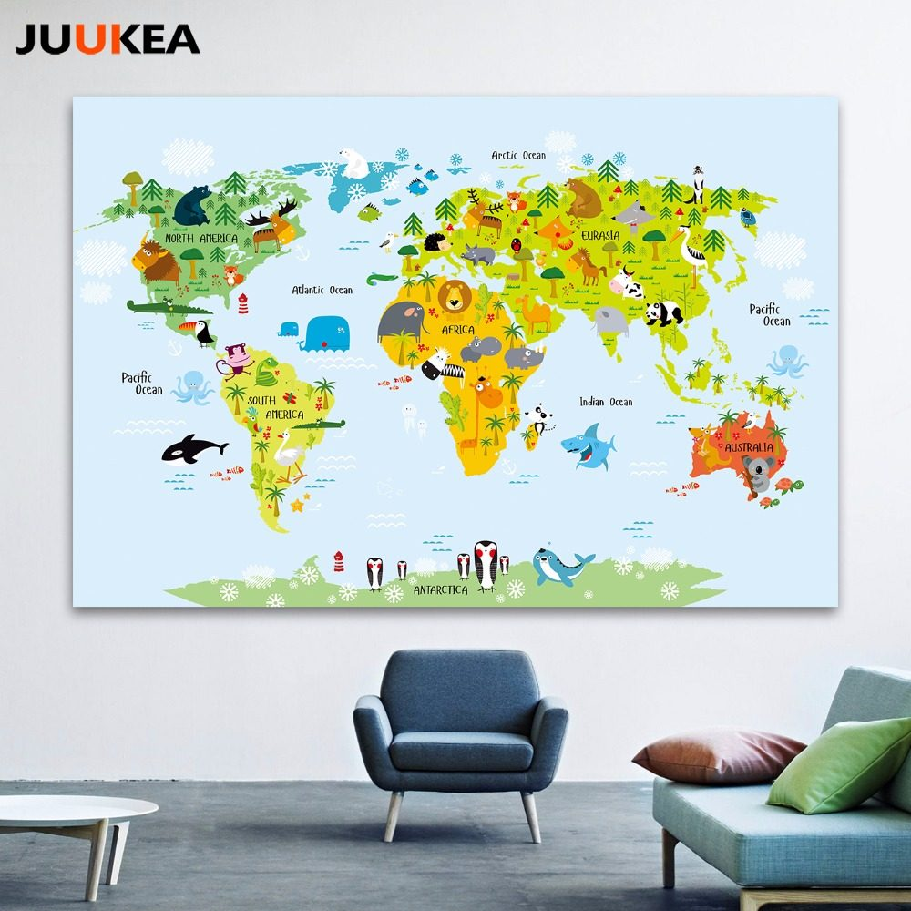 Online shop nordic children kawaii cartoon animals world map canvas canvas art print painting poster cartoon children kawaii animals world map wall pictures for gumiabroncs Choice Image