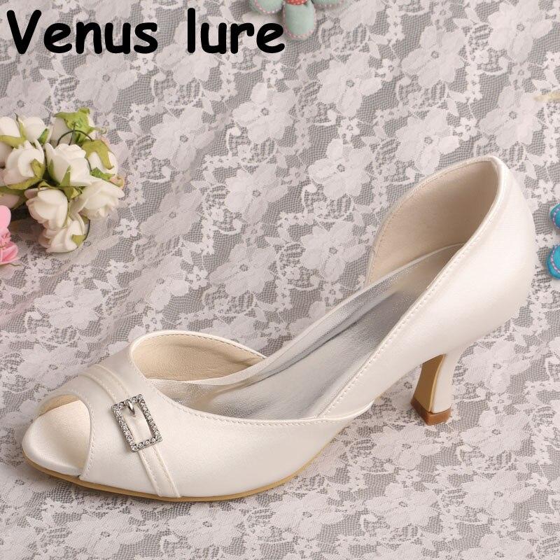Sans lacet nuptiale Peep Toe chaussures ivoire Satin moyen talon robe chaussures de mariage