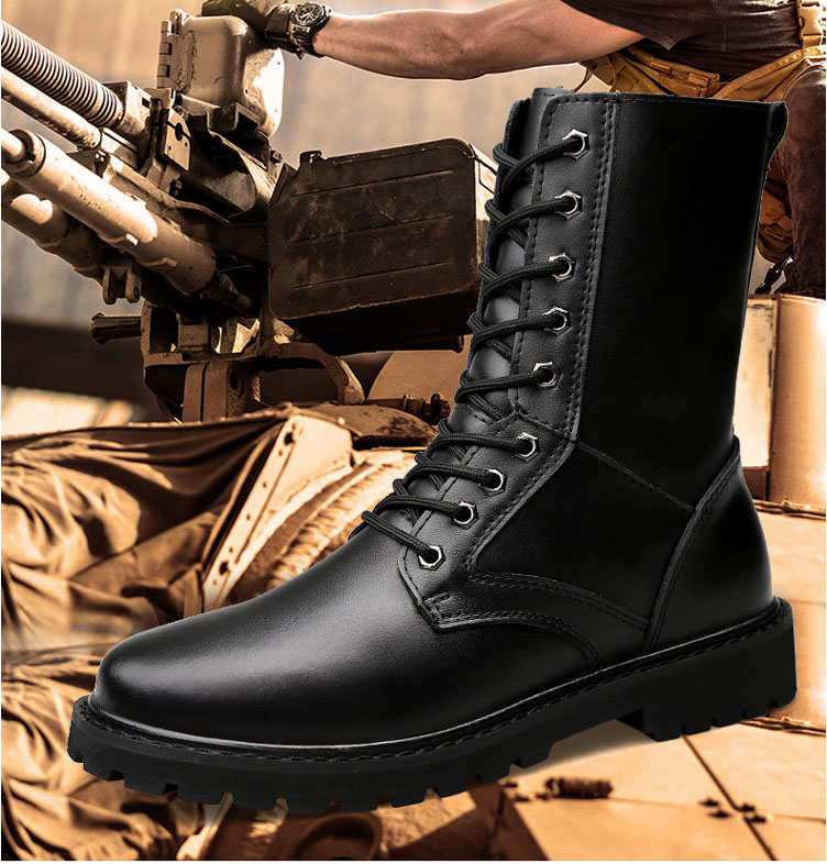REETENE Military Leather Boots For Men Waterproof Autumn Winter Boots Men  Outdoor Work Ankle Boots Army Men Shoes Size 38-50 1192a91a9609