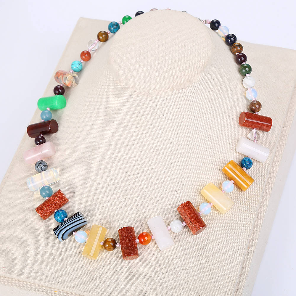 Natural  Colorful Crystal Necklace Beads Original Charm Women Jewelry Female Power Yoga Pendant Reiki Diffuser MulticolorNatural  Colorful Crystal Necklace Beads Original Charm Women Jewelry Female Power Yoga Pendant Reiki Diffuser Multicolor