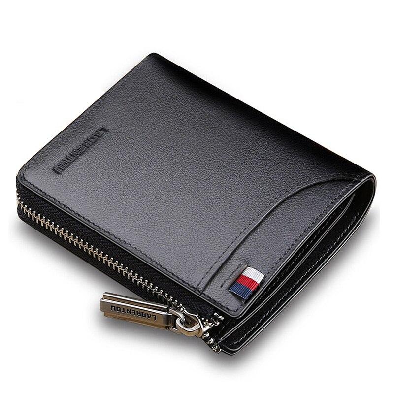 4a5b7d2525d  o  Laorentou Men Wallet Genuine Leather Card Holder Short Wallet Luxury  Man Purse Brand Card Case Casual Standard Wallets -in Wallets from Luggage    Bags