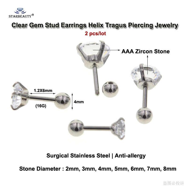 Starbeauty 2pcs 16G 2/8mm Bright Bijoux Stud Earrings Tragus Piercing Helix Piercing Clear Gem Ear Jewelry Pircing Suit any Age