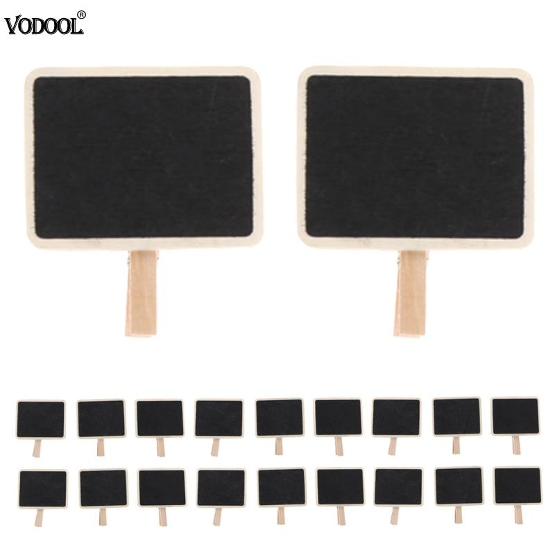 VODOOL 20pcs DIY Mini Blackboard Message Board Original Wooden Note Clip Price Tag Durable Wood Crafts Mark Store Stationery. vodool 10pcs mini wooden chalkboards children small blackboard decoration borders black board for message party with stand