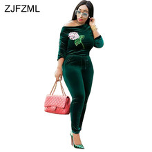 ZJFZML Off Shoulder Velvet Jumpsuit For Women 2018 Vintage Floral Sequin Full Sleeve Body Feminino Slash